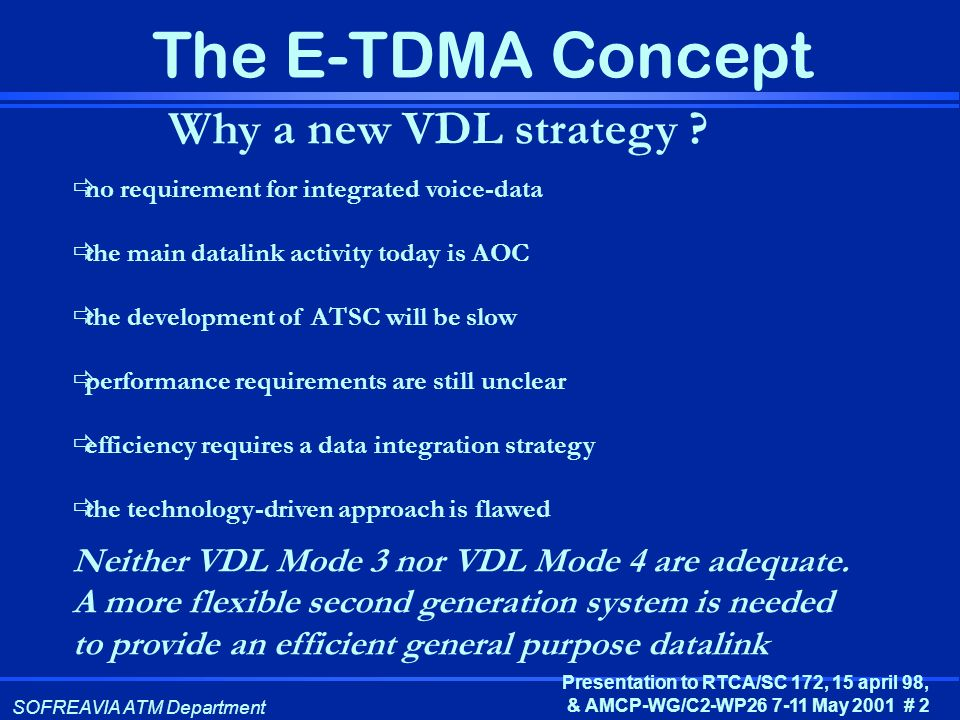 Why a new VDL strategy no requirement for integrated voice-data. the main datalink activity today is AOC.