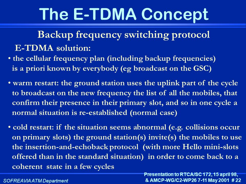 Backup frequency switching protocol