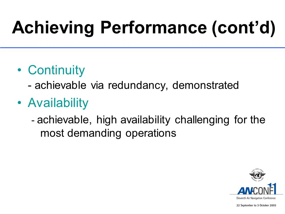 Achieving Performance (cont'd)