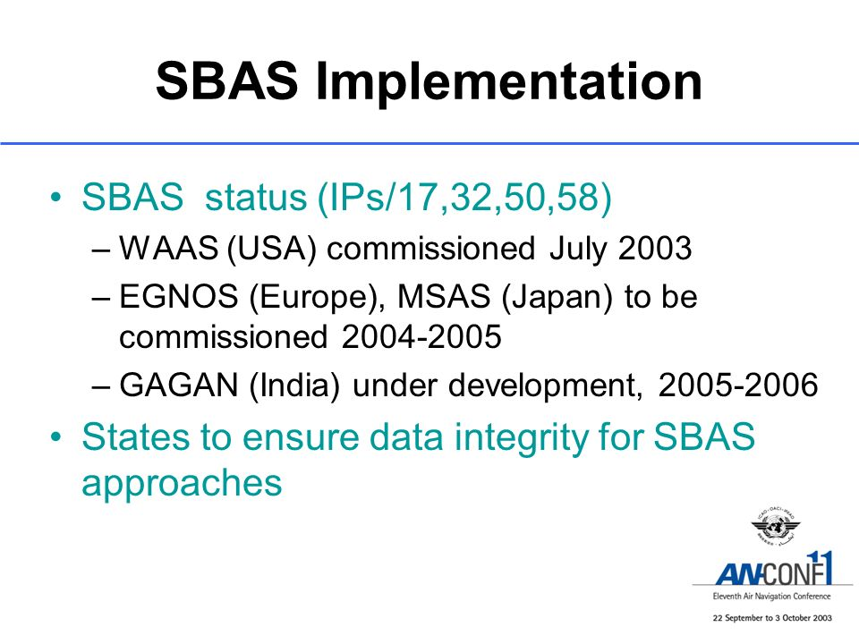 SBAS Implementation SBAS status (IPs/17,32,50,58)