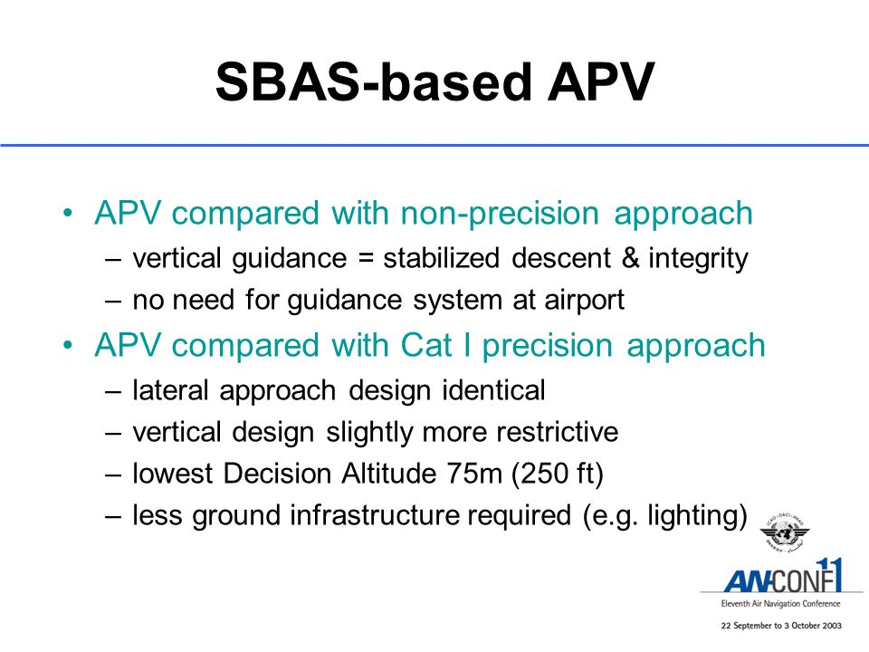 SBAS-based APV APV compared with non-precision approach