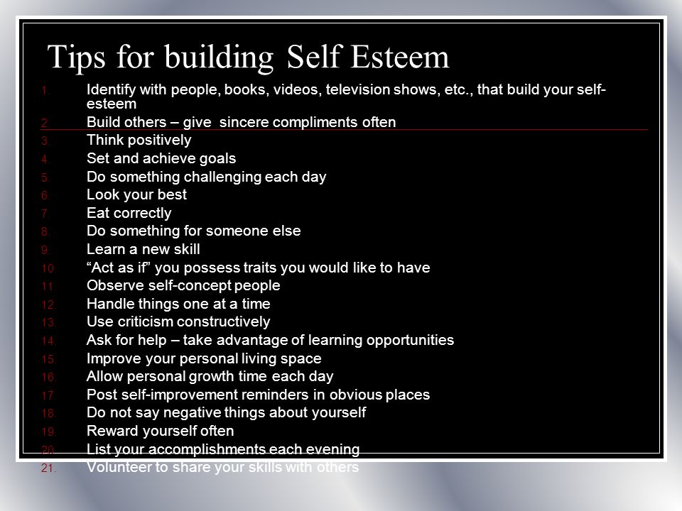 Tips for improving self esteem