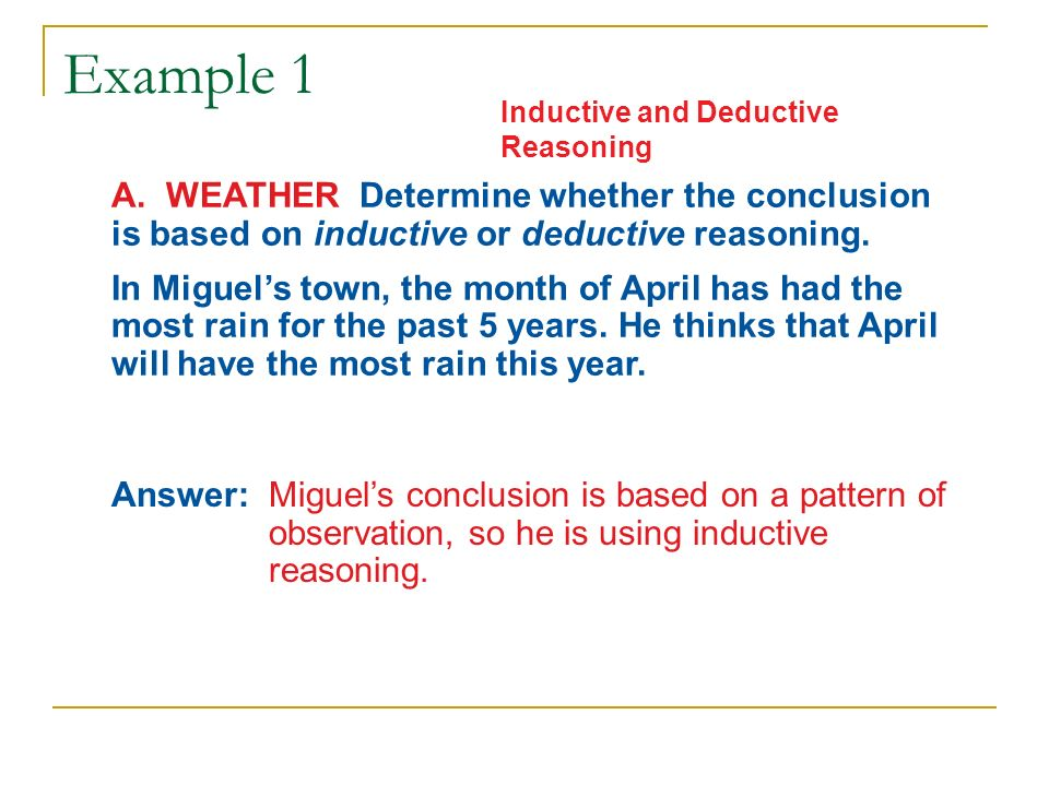 Inductive Reasoning And Conjecture And Deductive Reasoning Ppt