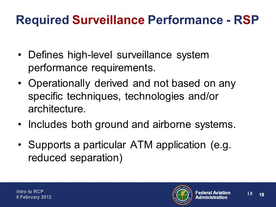 Required Surveillance Performance - RSP