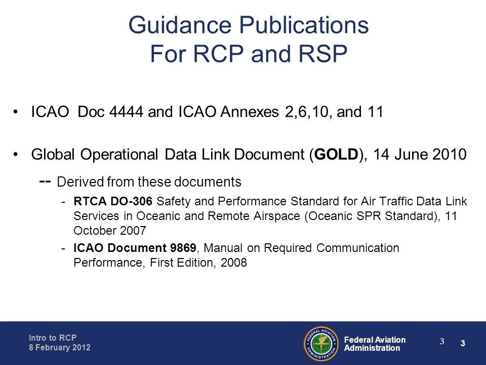Guidance Publications For RCP and RSP