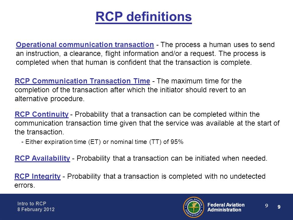 RCP definitions