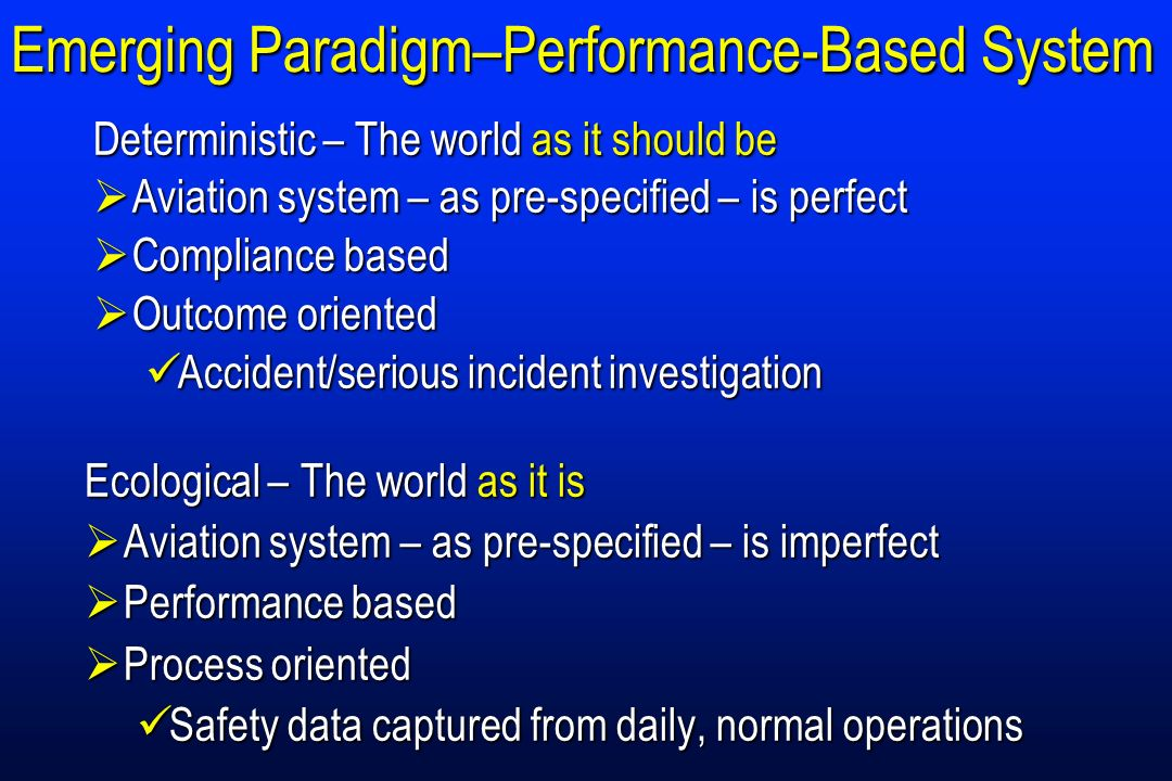 Emerging Paradigm–Performance-Based System