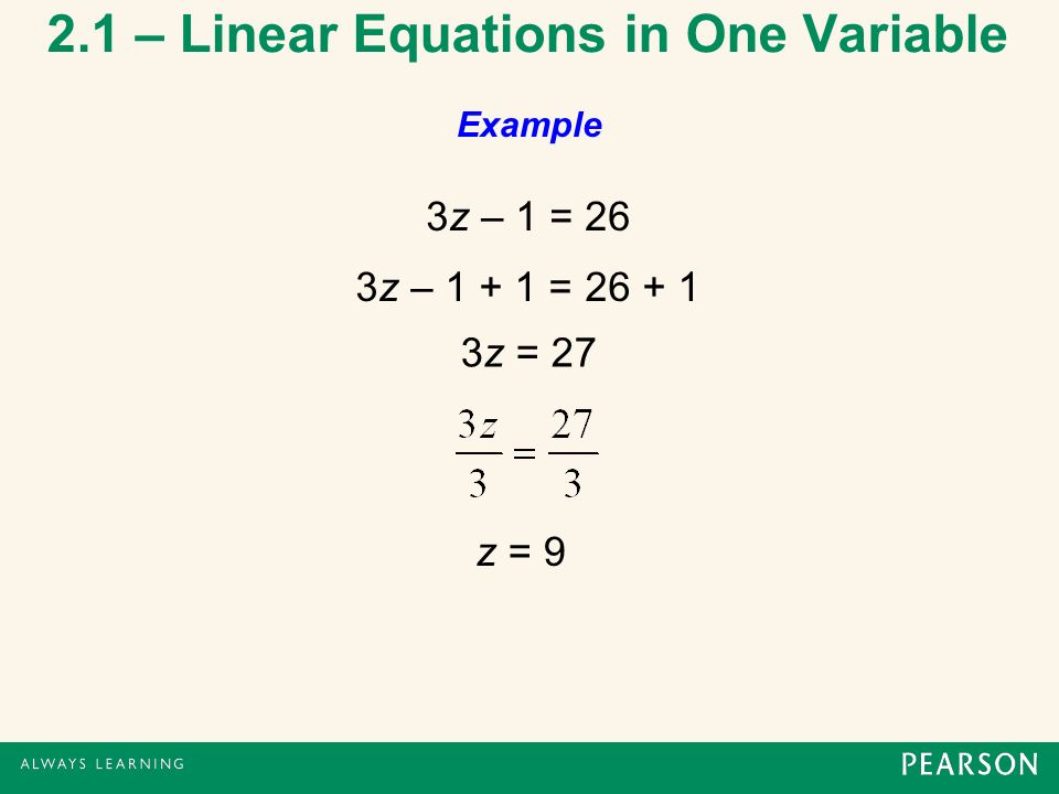 2 1 – Linear Equations in One Variable - ppt download