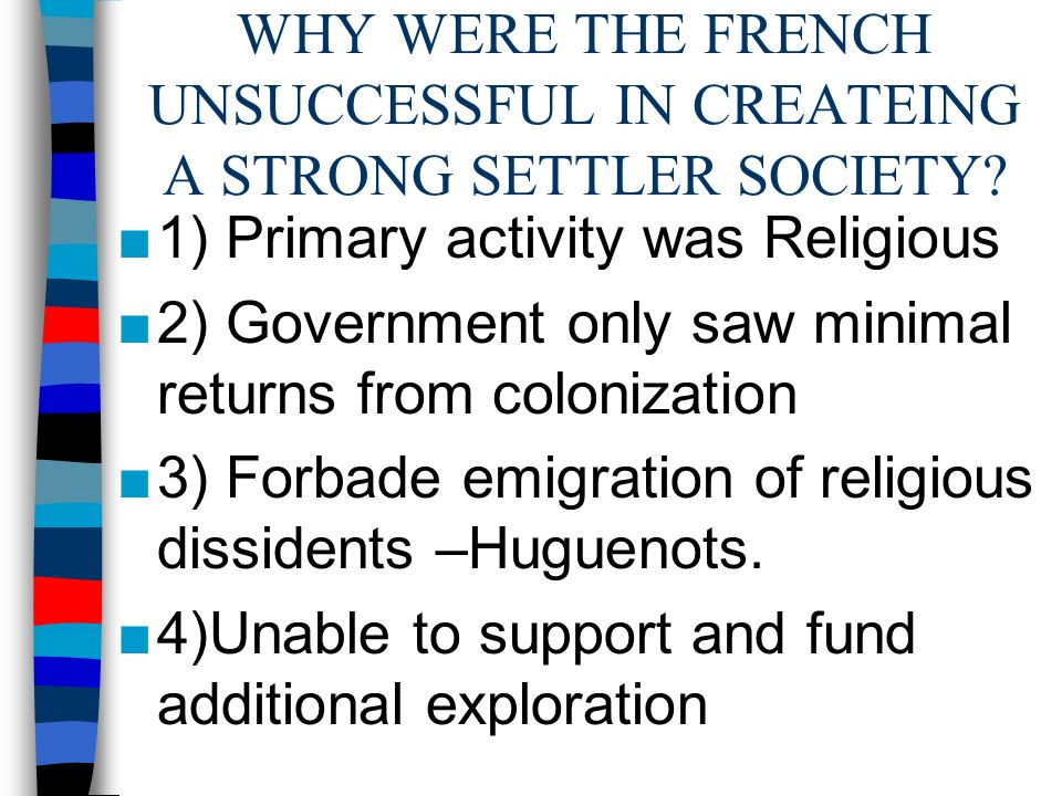 WHY WERE THE FRENCH UNSUCCESSFUL IN CREATEING A STRONG SETTLER SOCIETY