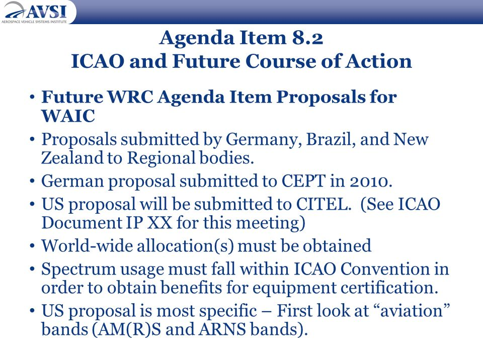 Agenda Item 8.2 ICAO and Future Course of Action