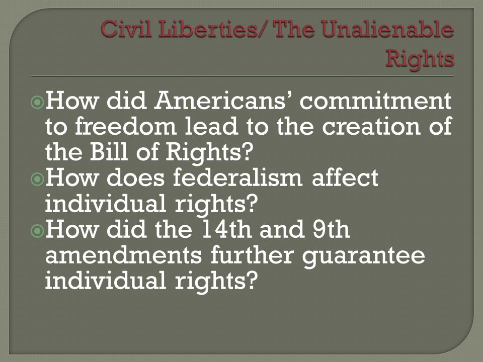 Civil Liberties/ The Unalienable Rights