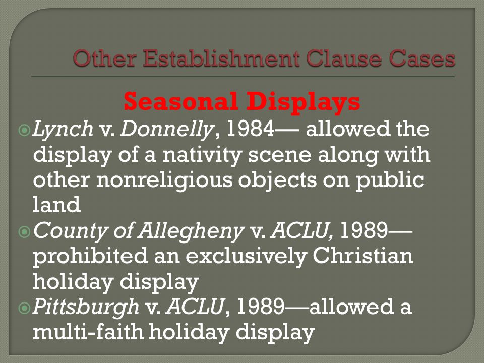 Other Establishment Clause Cases