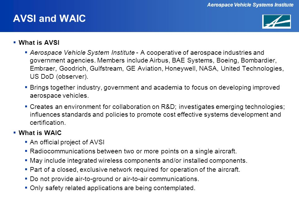 AVSI and WAIC What is AVSI