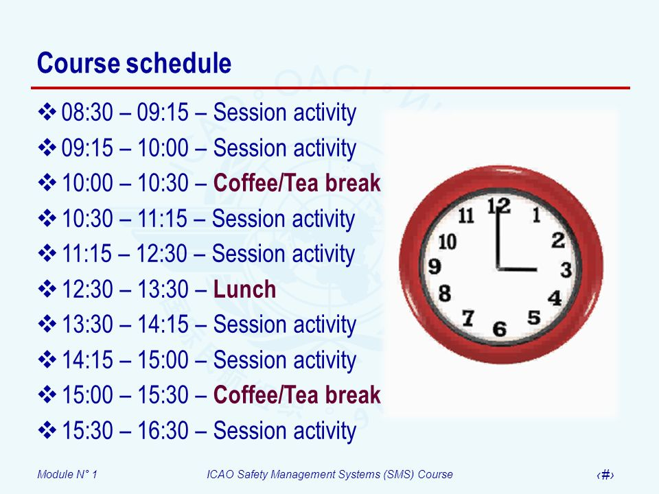 Course schedule 08:30 – 09:15 – Session activity