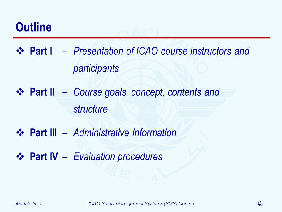 Outline Part I – Presentation of ICAO course instructors and participants. Part II – Course goals, concept, contents and structure.