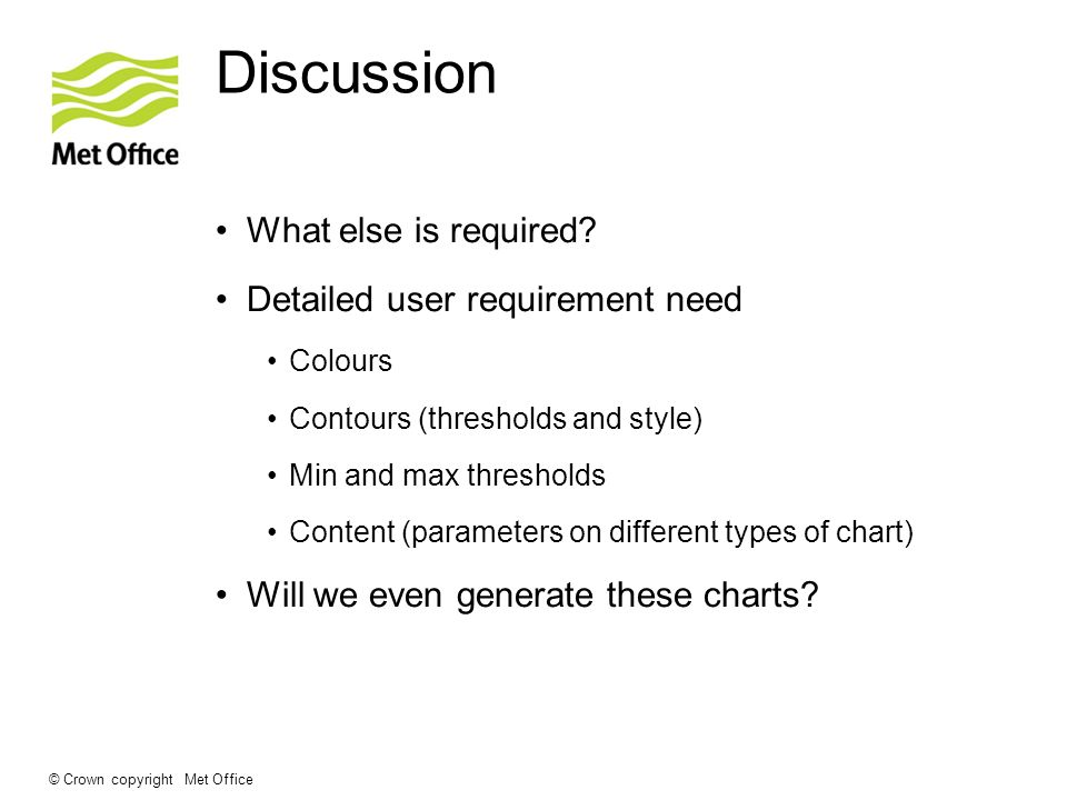 Discussion What else is required Detailed user requirement need