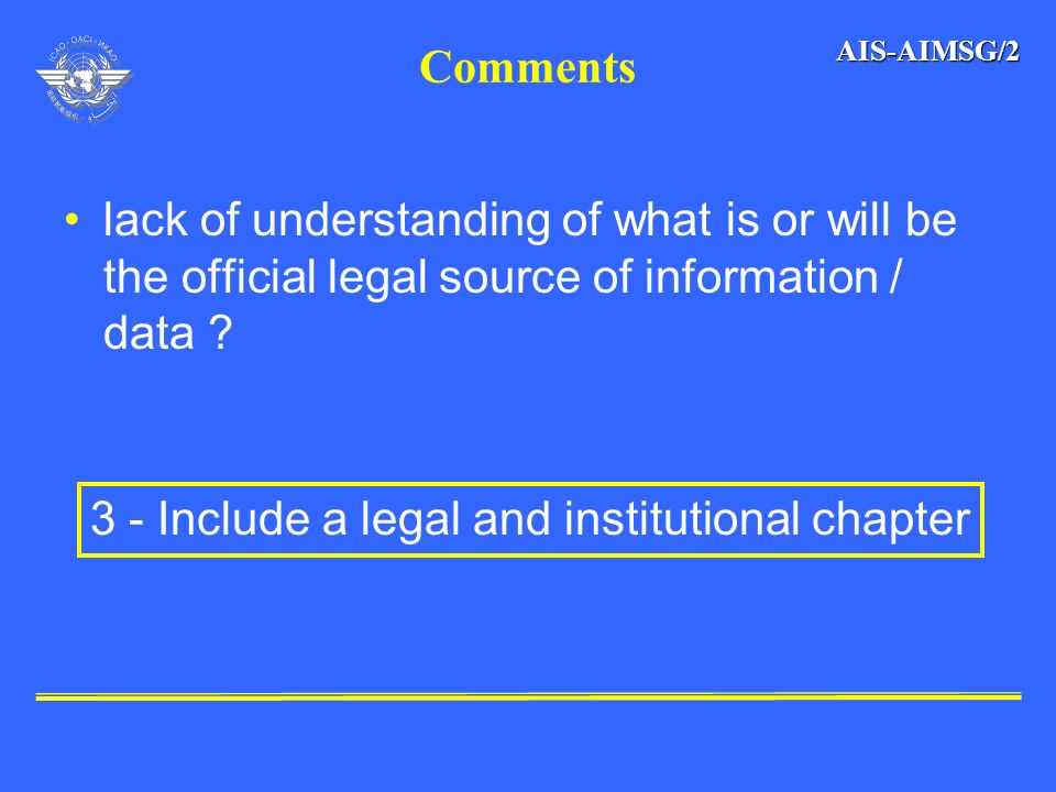 3 - Include a legal and institutional chapter