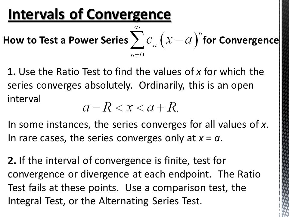 Testing Convergence at Endpoints - ppt video online download