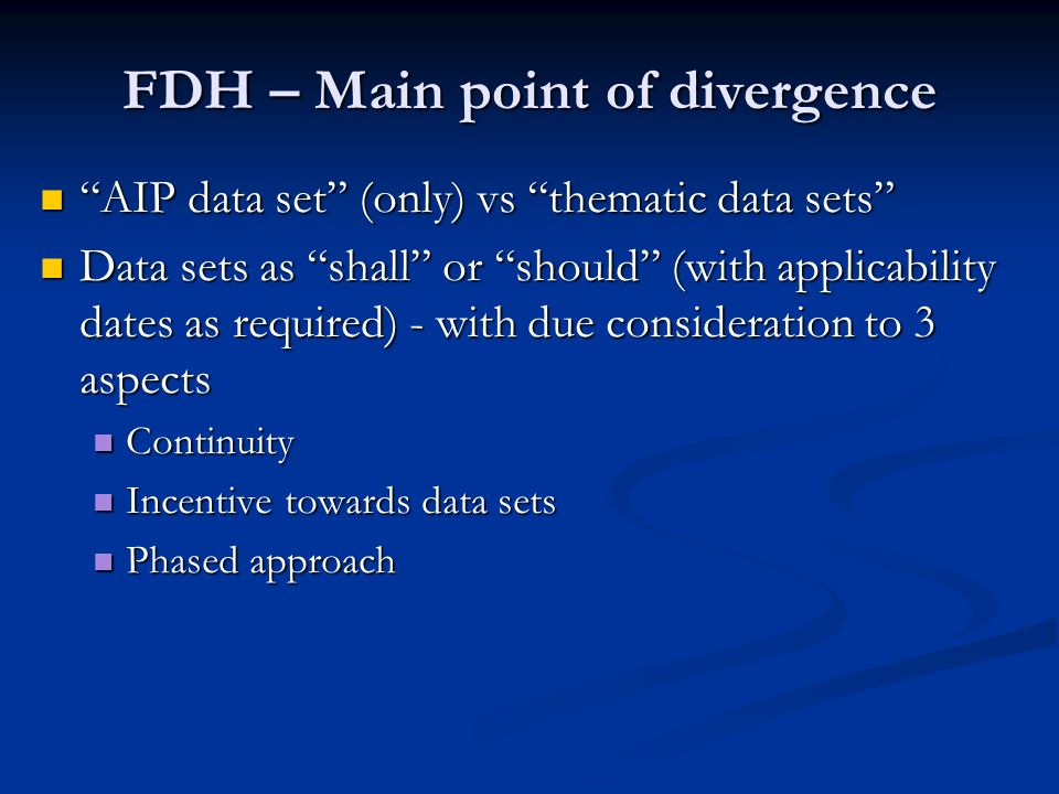 FDH – Main point of divergence
