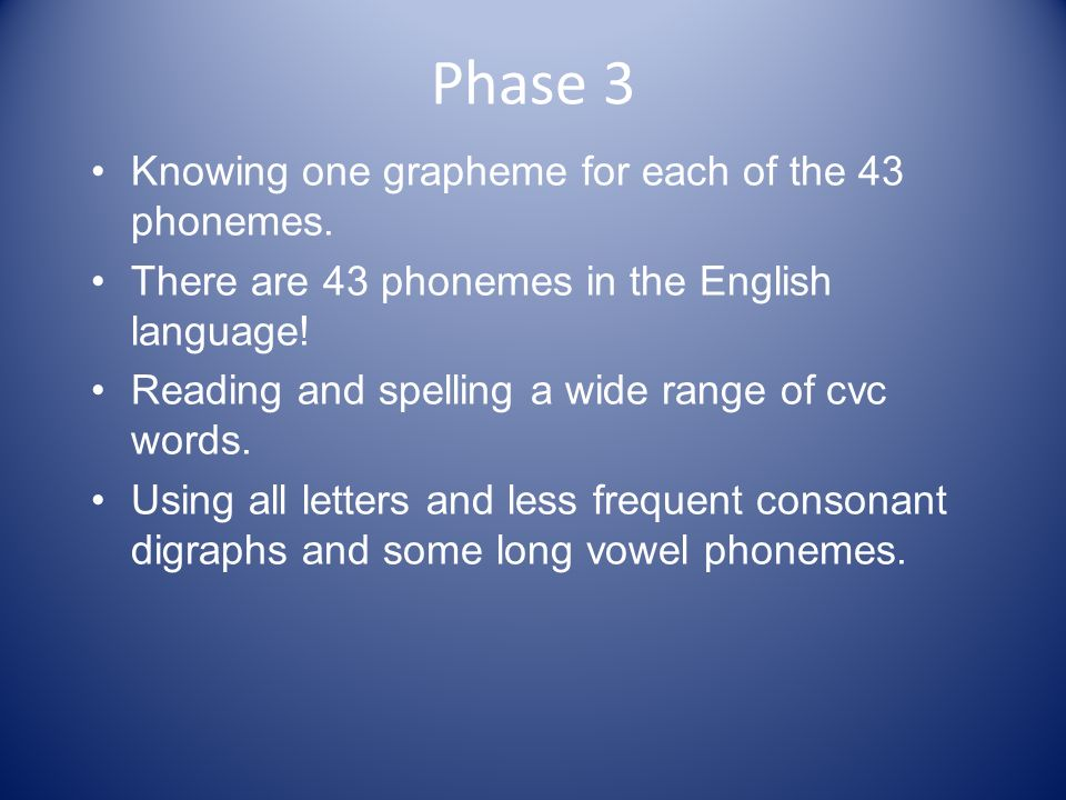 Phase 3 Knowing one grapheme for each of the 43 phonemes.