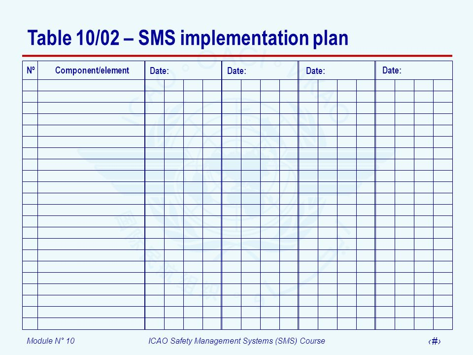 Table 10/02 – SMS implementation plan