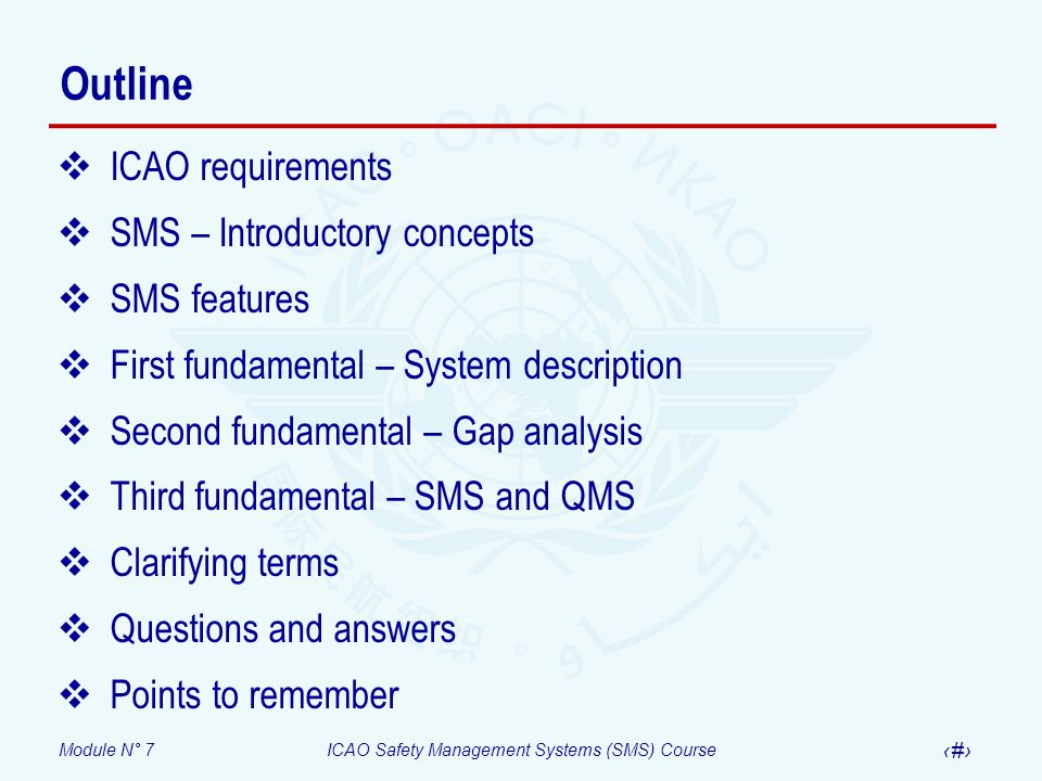 Outline ICAO requirements SMS – Introductory concepts SMS features