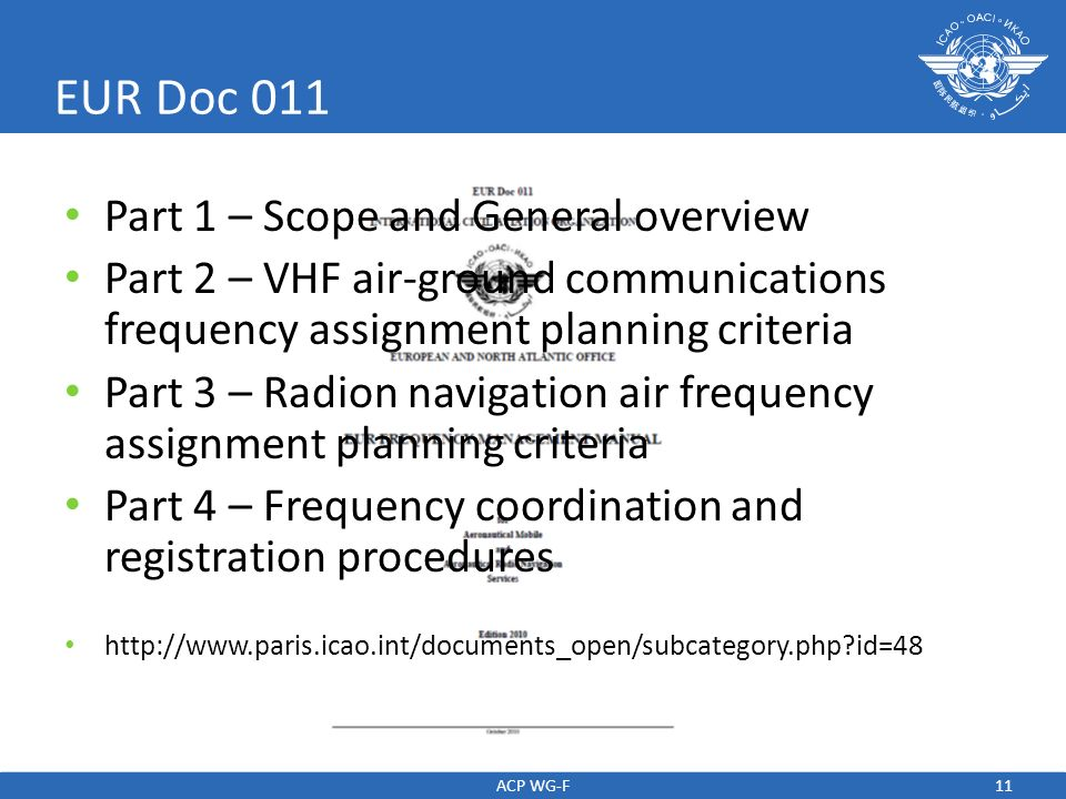 EUR Doc 011 Part 1 – Scope and General overview