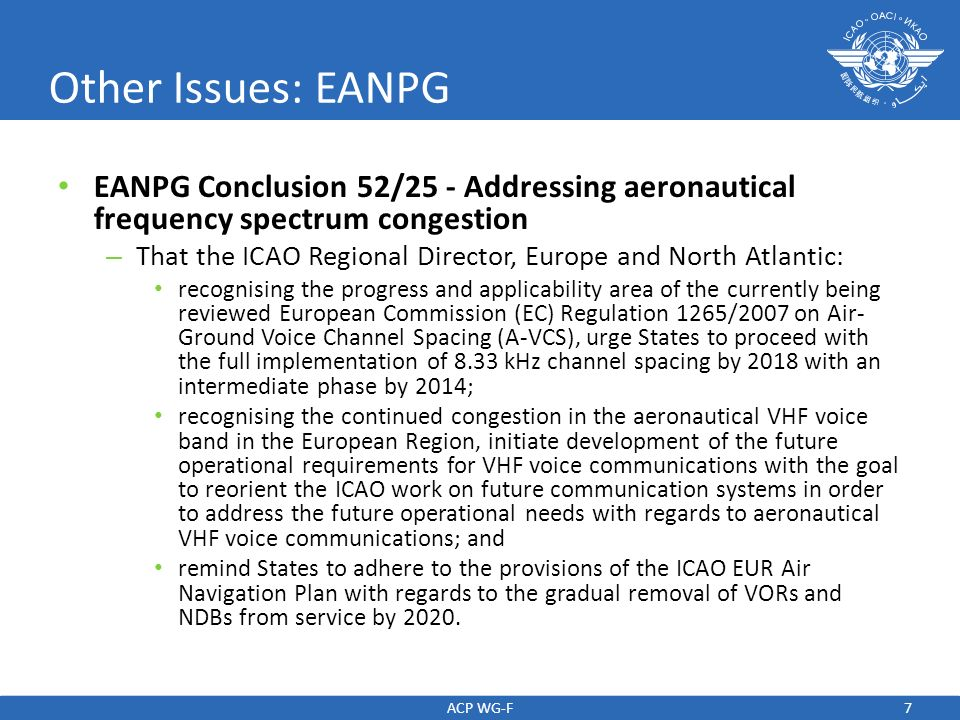 Other Issues: EANPG EANPG Conclusion 52/25 - Addressing aeronautical frequency spectrum congestion.