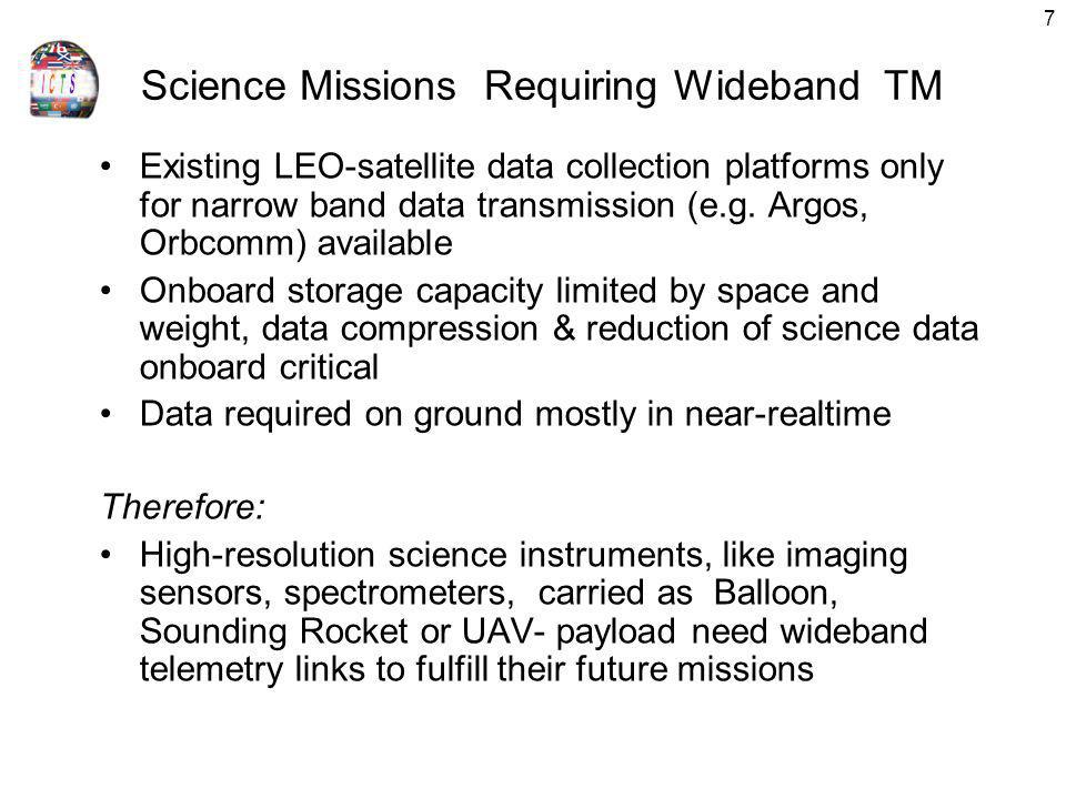 Science Missions Requiring Wideband TM