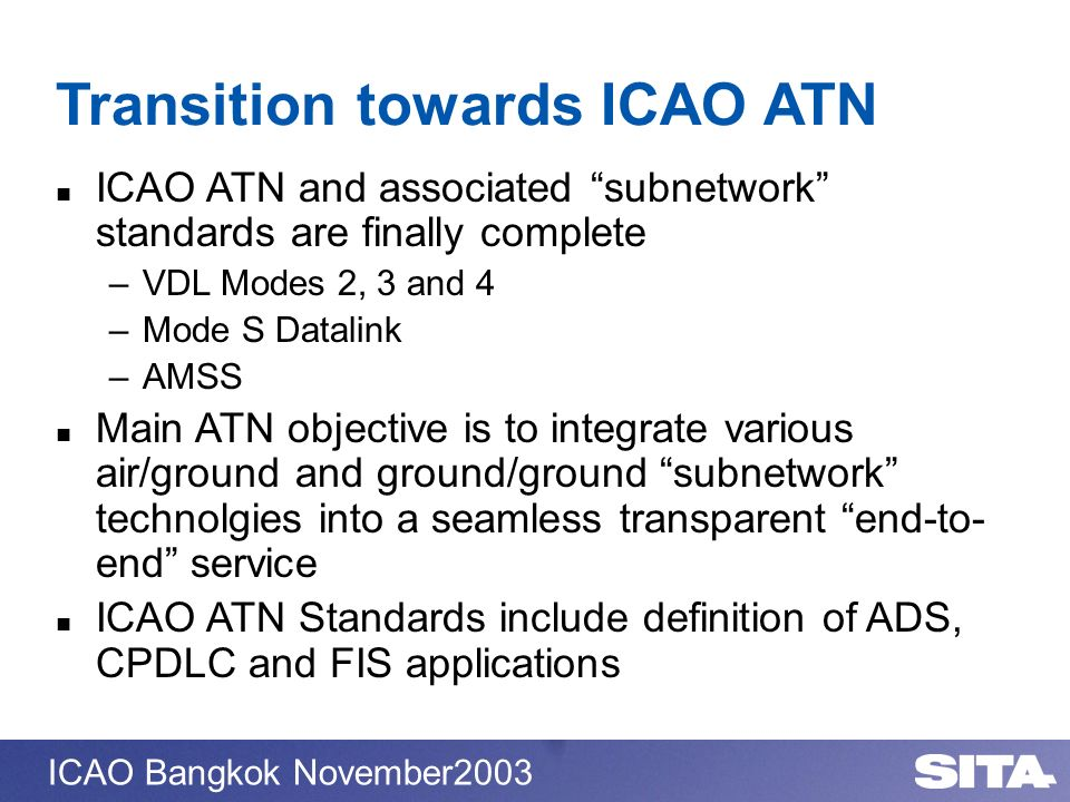 Transition towards ICAO ATN