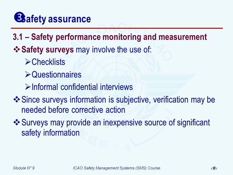 Safety assurance 3.1 – Safety performance monitoring and measurement