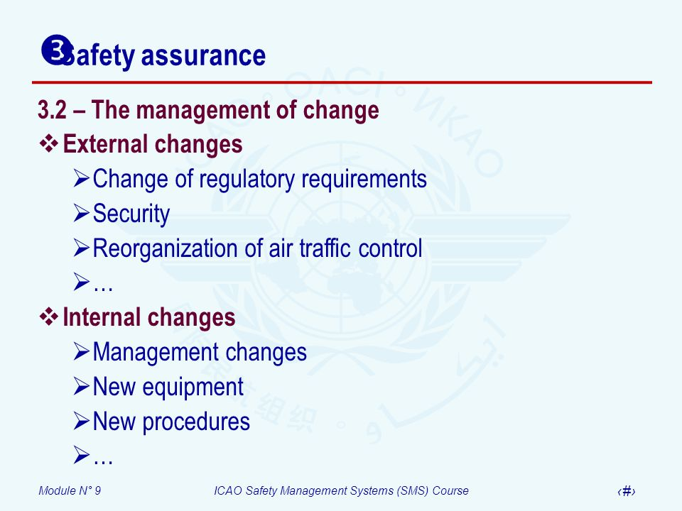 Safety assurance 3.2 – The management of change External changes