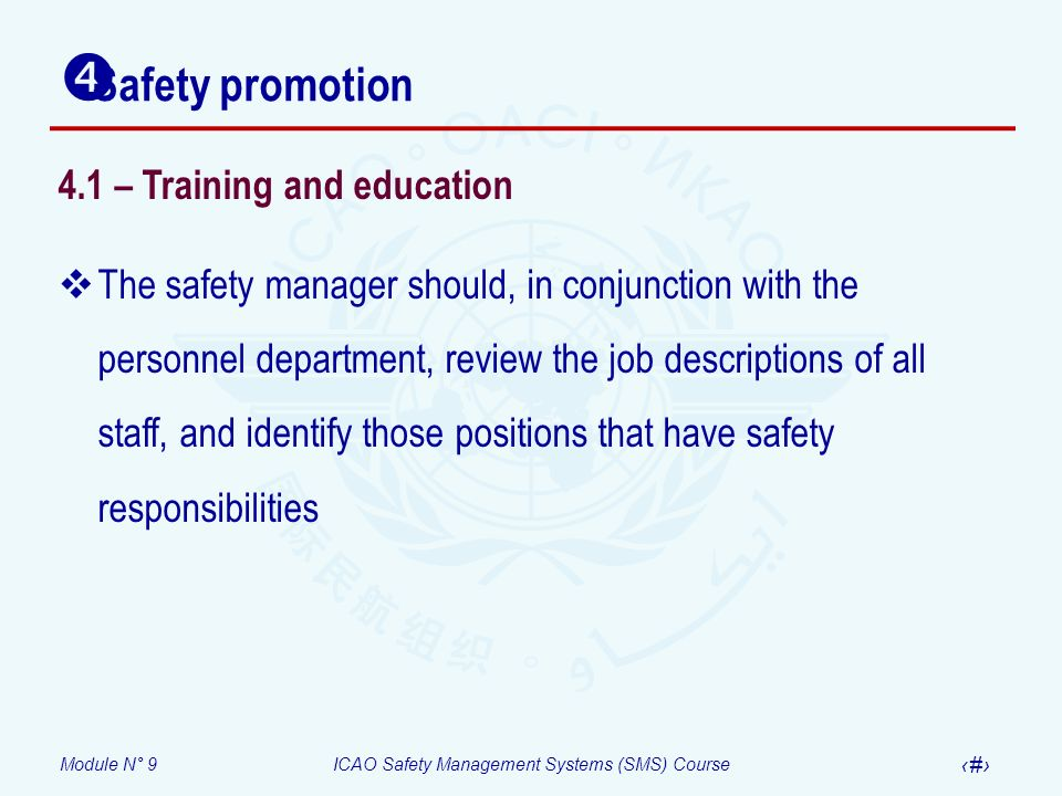 Safety promotion 4.1 – Training and education