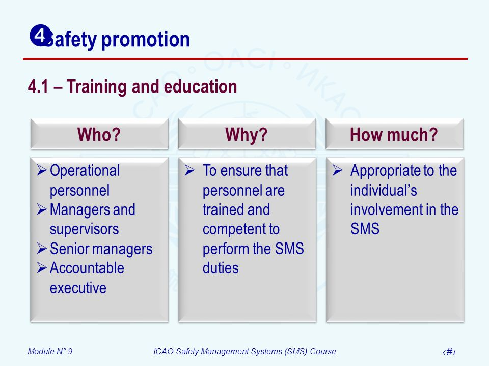Safety promotion 4.1 – Training and education Who Why How much