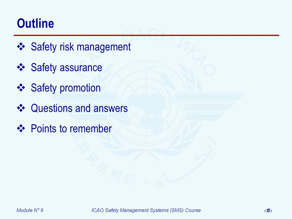 Outline Safety risk management Safety assurance Safety promotion