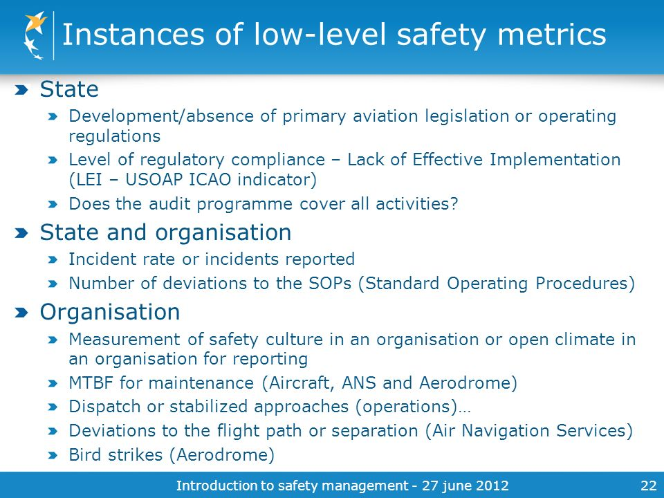 Instances of low-level safety metrics