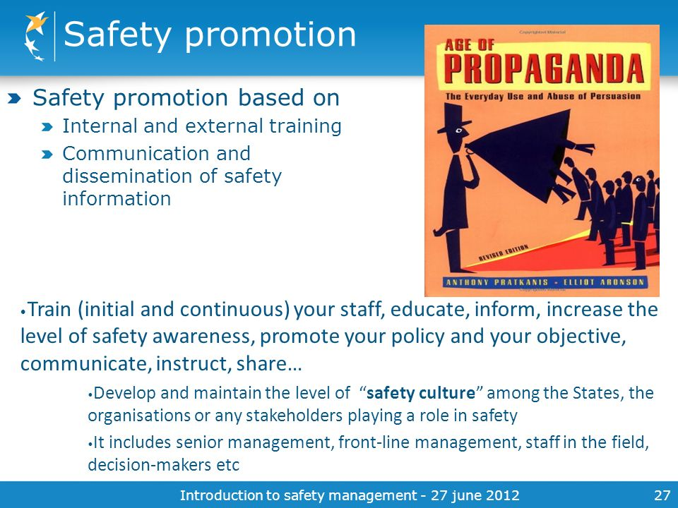 Introduction to safety management - 27 june 2012