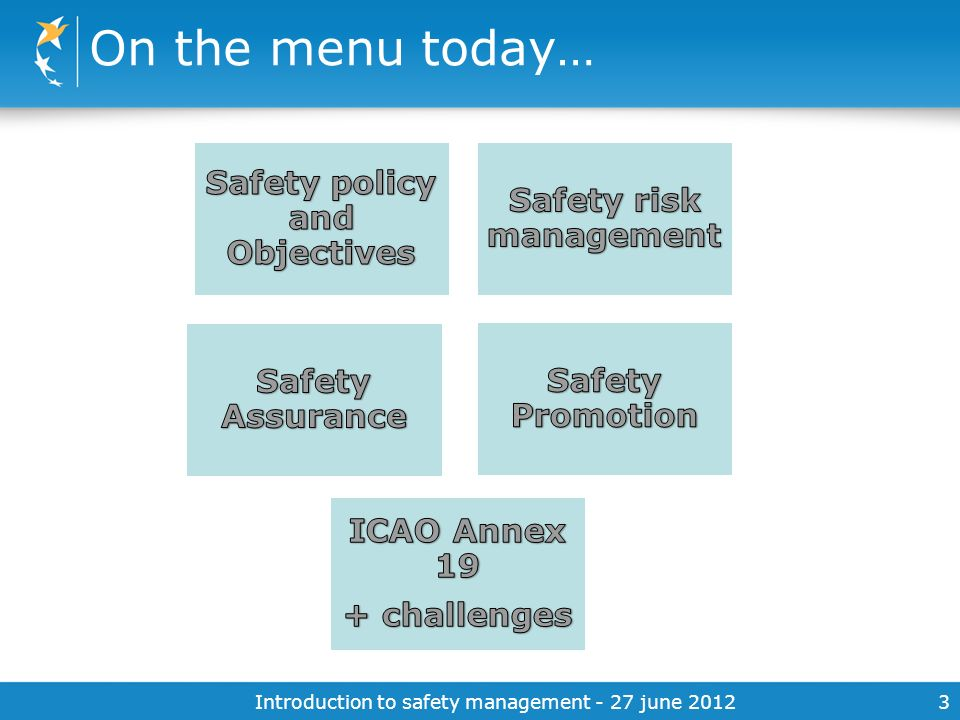 Safety policy and Objectives Safety risk management