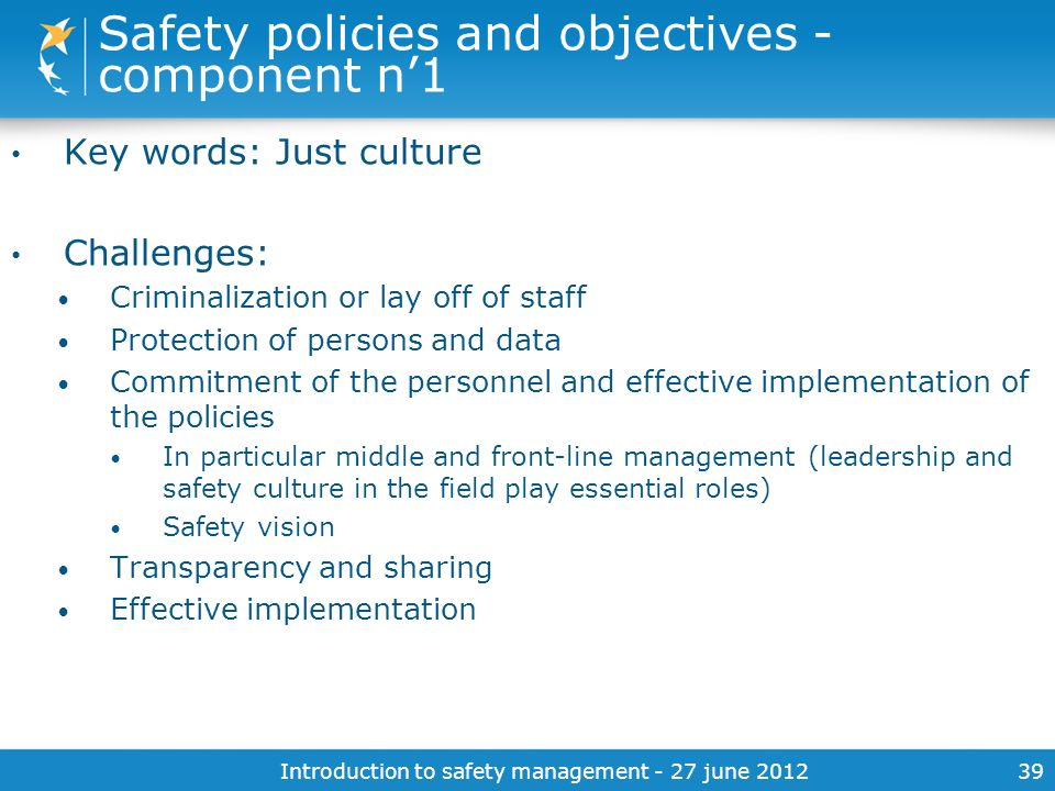 Safety policies and objectives - component n'1