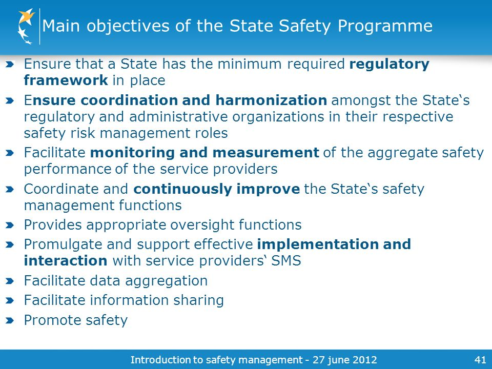 Main objectives of the State Safety Programme