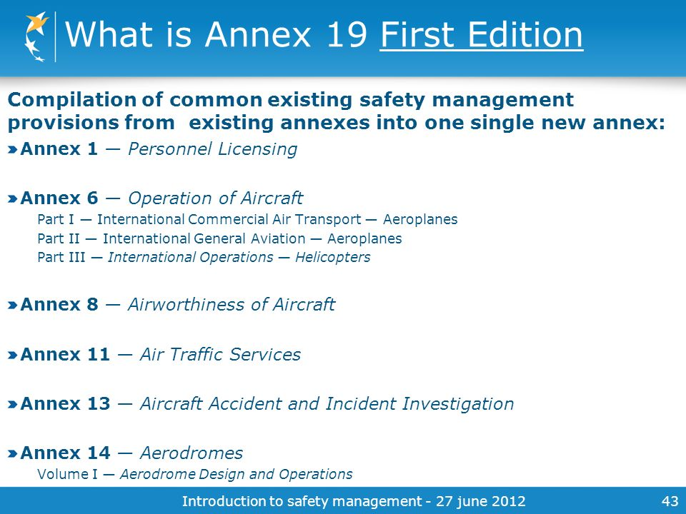 What is Annex 19 First Edition