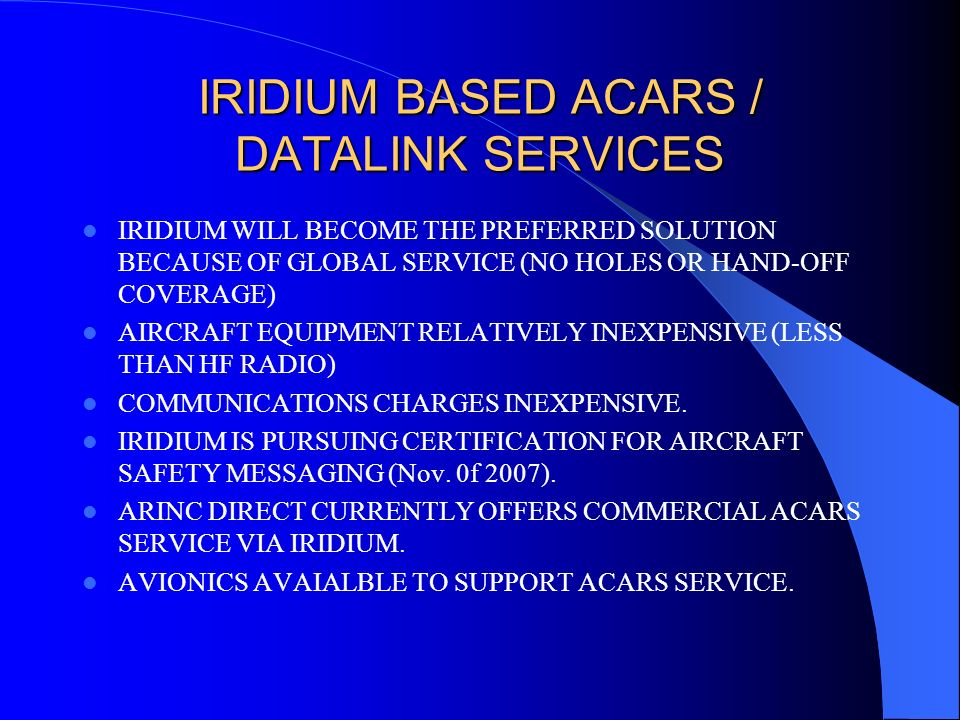 IRIDIUM BASED ACARS / DATALINK SERVICES