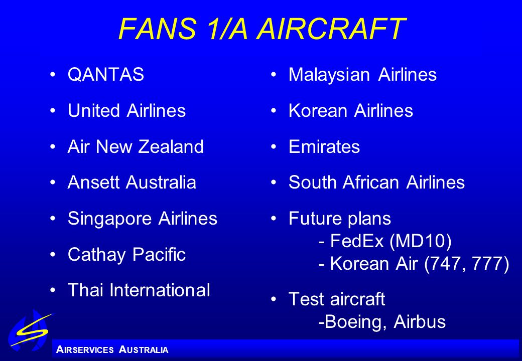 FANS 1/A AIRCRAFT QANTAS United Airlines Air New Zealand