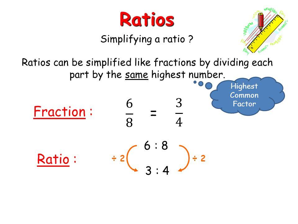 Ratios Fraction Ratio  4 Simplifying A Ratio