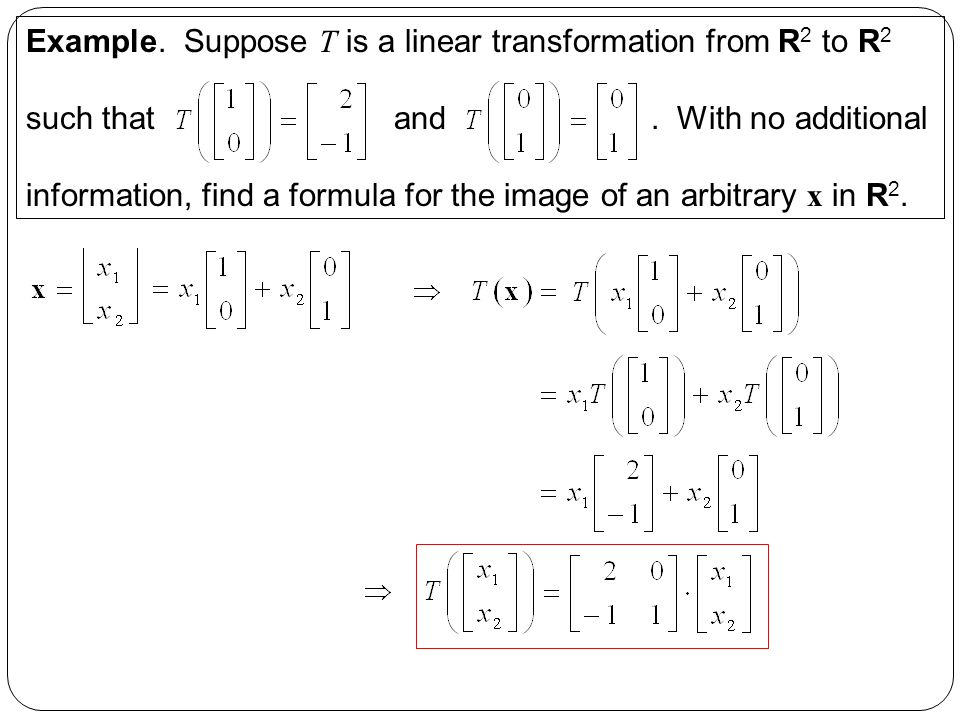 Sections 1819 Linear Transformations Ppt Video Online Download