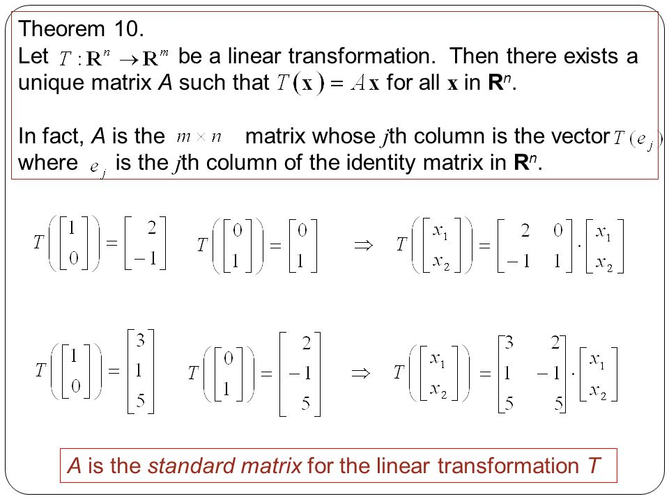 Sections 1 8/1 9: Linear Transformations - ppt video online download