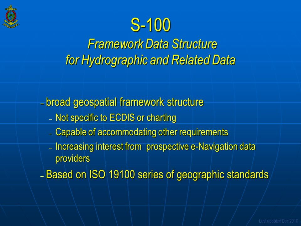 S-100 Framework Data Structure for Hydrographic and Related Data