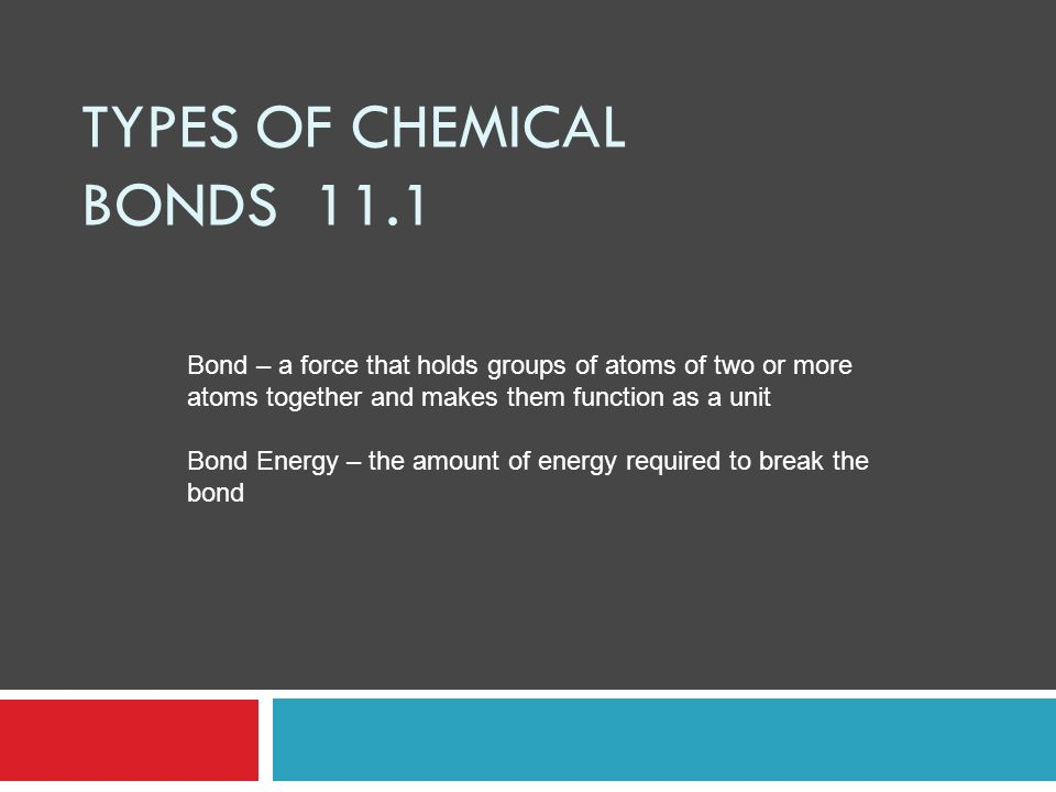 Types of Chemical Bonds 11.1