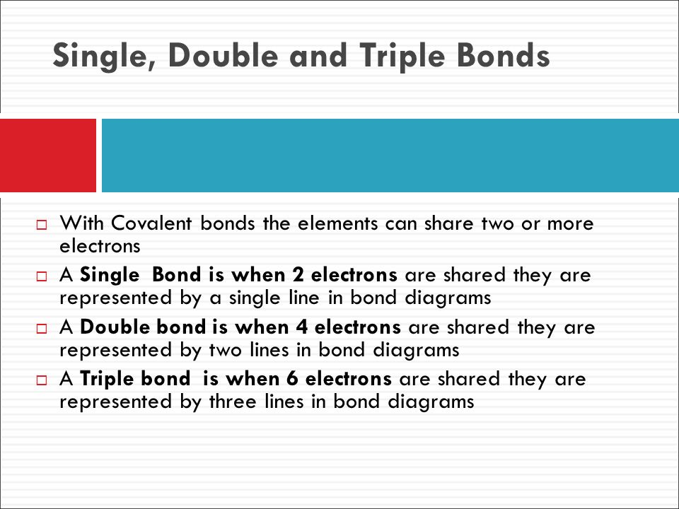 Single, Double and Triple Bonds