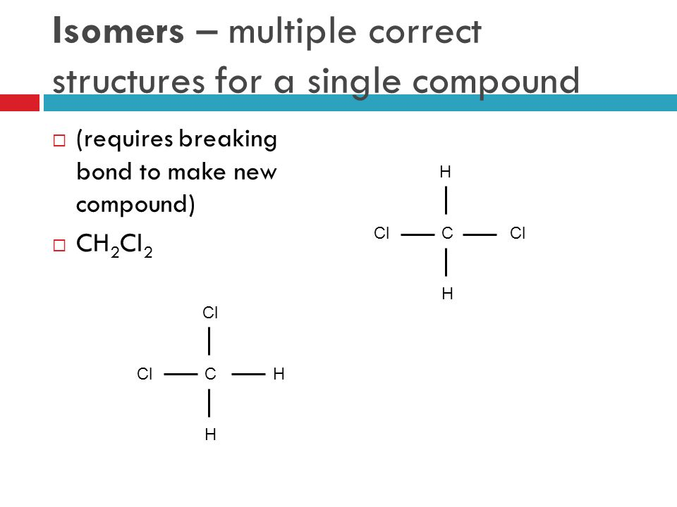 Isomers – multiple correct structures for a single compound